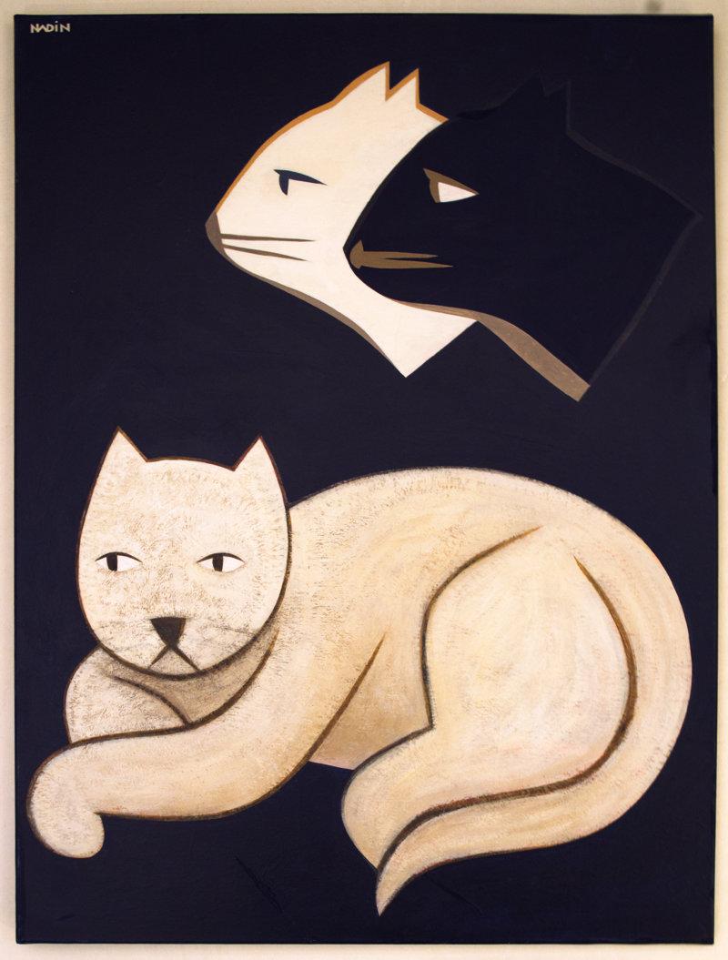 Sébastien Nadin, Chat rêvant de chats, 2012, 60 x 80 cm, acrylique, 799 Euros