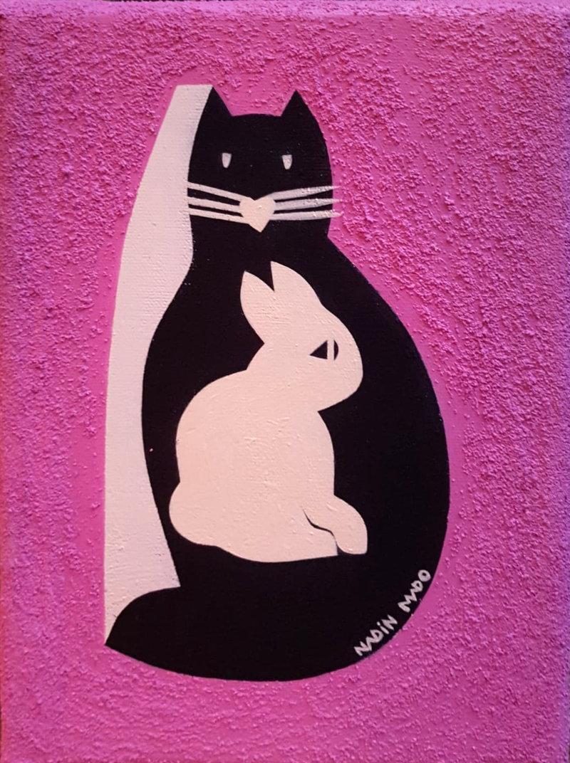 Sébastien Nadin & Mado, Comme lapin et cat 2021, 19 x 24 cm, acrylique sur toile, 159 Euros