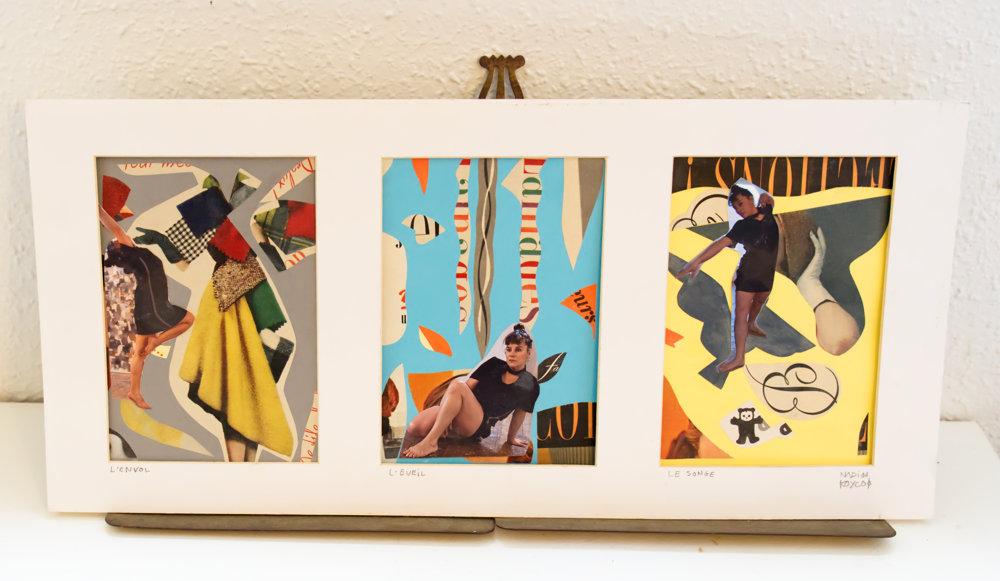 Sébastien Nadin, Tryptique, Mado : Envol, Eveil, Songe, 2020, 12 x 17 x 3, collage, 169 Euros