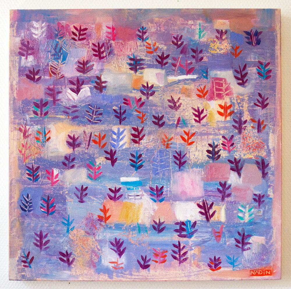 Sébastien Nadin, Paysage féérique avec fougères, 2020, 50 x 50 cm, acrylique, 499 Euros