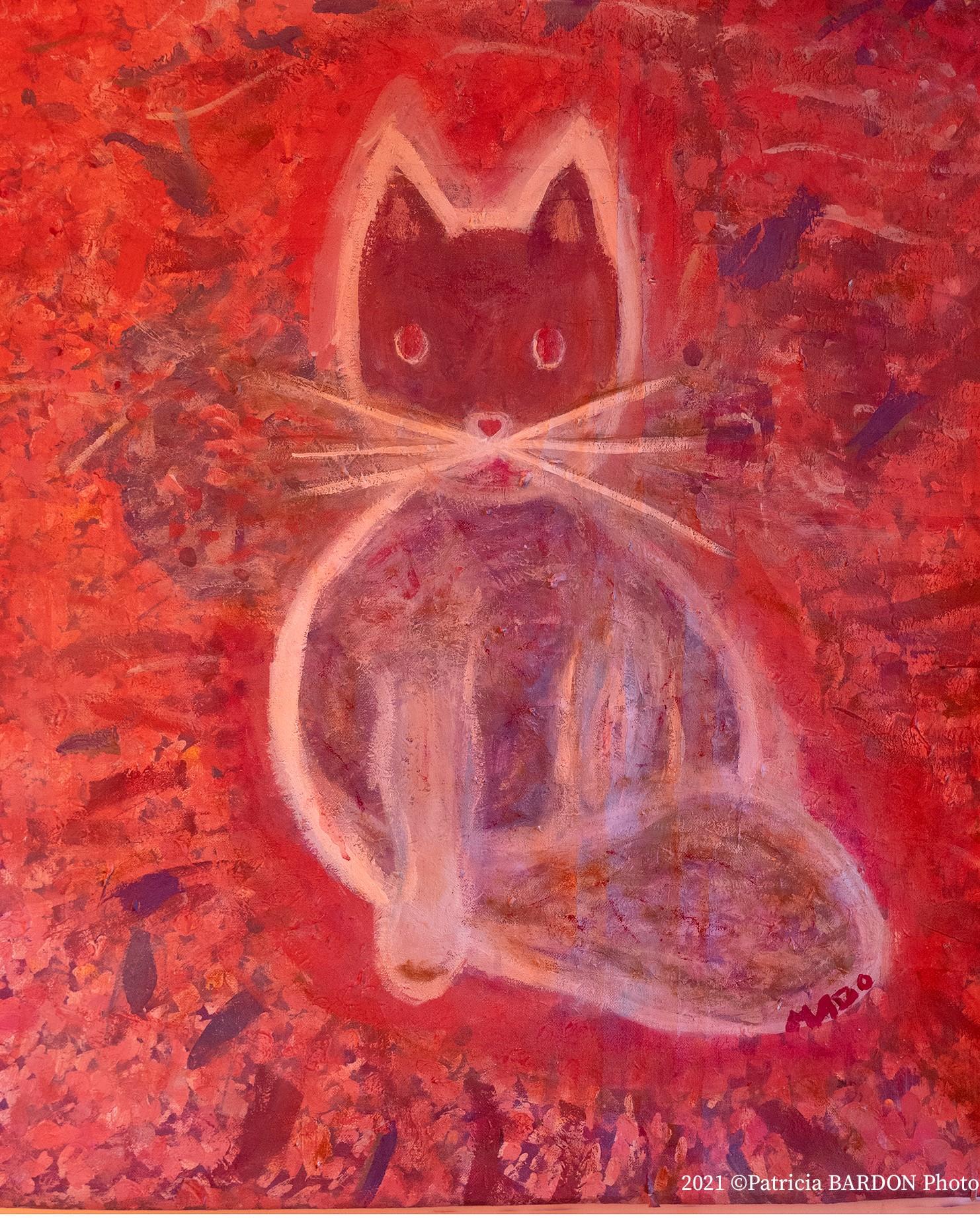 """Mado, """"Peinture de batiment convertie en Chat rose"""", 2020, 60 x 73, acrylique, 309 Euros"""